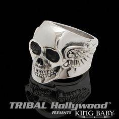 ARCHETYPE WING SKULL RING Mens Sterling Silver King Baby Ring