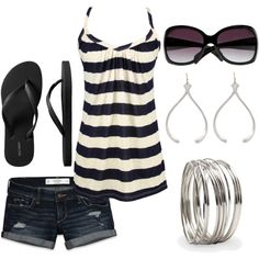 dark jean shorts, thick striped tank, black flip flops, shades, and jewelry.  Loooooove.
