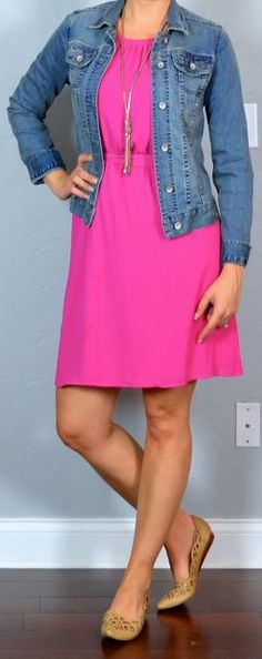 Outfit post: hot pink dress, jean jacket, nude cutout flats