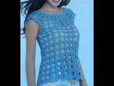Blusa fácil en Crochet - Blusa espuma de mar - YouTube