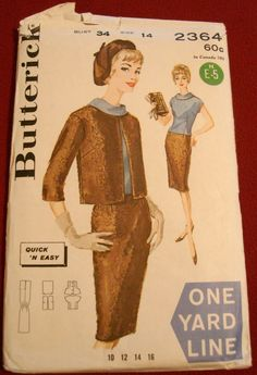 """* Yard Line ~ Butterick 2364 ~ The 1 yard Line wardrobe ~ sheath skirt, jacket and fitted cowl neck top each requiring only a yard of 54"""" fabric ~"""