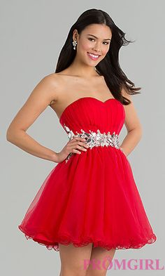 Short Strapless Babydoll Prom Dress at PromGirl.com  (Red or White)