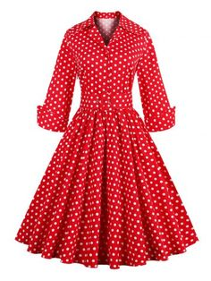 GET $50 NOW | Join RoseGal: Get YOUR $50 NOW!http://www.rosegal.com/vintage-dresses/vintage-3-4-sleeve-button-design-polka-dot-women-s-dress-613437.html?seid=5909080rg613437