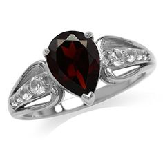198ct Natural Garnet  White Topaz Gold Plated 925 Sterling Silver Engagement Ring Size 11 *** Click image for more details.(This is an Amazon affiliate link)