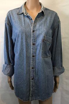 Vintage Levi's Button Up Blue Jean Work Shirt Size Large