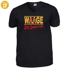 Hochwertiges T-Shirt mit V-Ausschnitt zum 30.Geburtstag : 30 Jahre / Waage Goodman Design® - V-Neck Shirt Gr: XXL Farbe: schwarz - Shirts zum 30 geburtstag (*Partner-Link)