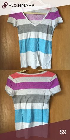 Multi colored striped t shirt Very soft t shirt only worn once American Eagle Outfitters Tops Tees - Short Sleeve