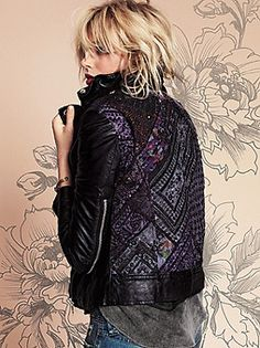Free People Aztec Leather Motorcycle Jacket