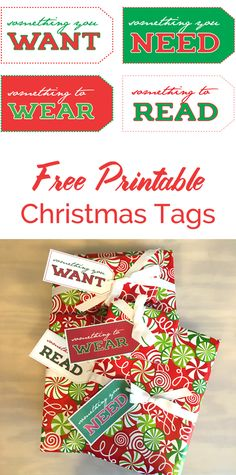 Want, Need, Wear, Read Free Printable Christmas Tags