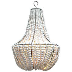 """Clay Beaded """"Lim"""" white Chandelier 1"""