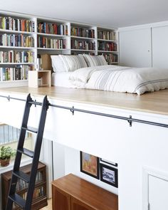 A reading loft with a bed included means we're not coming out for at least a… . A reading loft with a bed included means we're not coming out for at least a few days! House Design, House, Small Spaces, Interior, Bedroom Design, European Home Decor, House Interior, Tiny House Storage, Interior Design