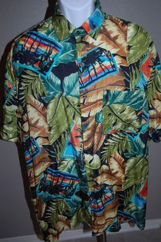 f66e5189 Robert Stock Hawaiian Mens Shirt 100% Silk Button Front Multi Color Sz L  #RobertStock