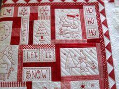 Bordado navideño // Tamaño grande // Redwork quilt 2 //  Encontrado en flickr.com  Flickr Redwork por Jessica's Quilting Studio en Flickr