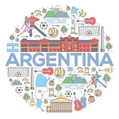 Country Argentina travel vacation guide of goods, places and features. Set of architecture, fashion, people, items or nature background concept. On thin lines style — Vector de stock Argentina Map, Argentina Culture, Argentina Travel, Argentina Country, Thailand Travel, Croatia Travel, Hawaii Travel, Hispanic Heritage, Travel Party