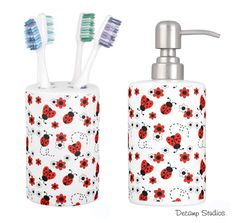 RED LADYBUG BATHROOM Girls Toothbrush holder and Soap Dispenser Decor