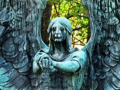 """Cleveland's Lakeview Cemetery contains a number of famous graves including those of presidents and business moguls, but its most striking grave marker may be the unsettling statue known as Haserot's Angel. The stoic angel is seated in the marble gravestone of one Francis Haserot. This life-size bronze statue of a seated angel holding a staff in a posture of command is actually named """"The Angel of Death Victorious"""" although its ominous name is not its most unsettling feature. Due to an effect…"""