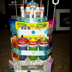 School supply cake for daycare teachers! Great if you know someone who is opening a daycare/preschool or plans on home schooling their own children.