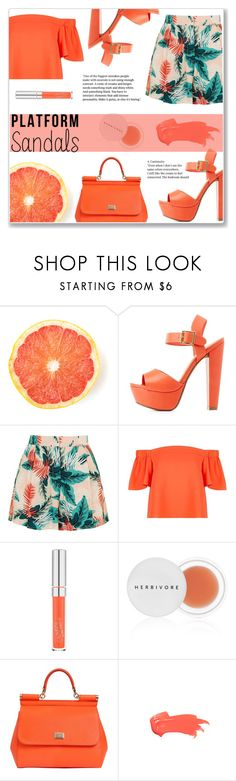 """""""Coral Platform Sandals"""" by steph-soto ❤ liked on Polyvore featuring Charlotte Russe, Topshop, Herbivore, Dolce&Gabbana and Anastasia Beverly Hills"""
