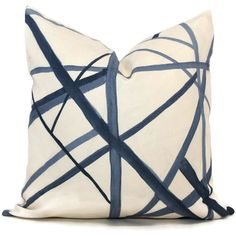 =====>On backorder until May.<=====   Add a Pop O Blue to your decor with this blue geometric patterned pillow cover. Painterly lines in shades of blue