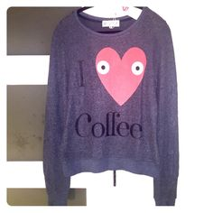 NWT Wildfox I Love Coffee Baggy Beach Jumper BNWT. Color is 'Sailor' (grayish navy) - fleecy & so freakin soft! Fit is 'baggy' so will fit S,M, and even a small Large. Pic 4 for more details. trades Wildfox Sweaters