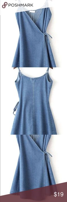 Denim wrap sundress Like new worn once denim wrap dress with adjustable straps Dresses Mini