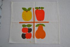 Vintage 60s Dish Cloth Towel Bright Retro Colors by vintagefinds61, $5.00