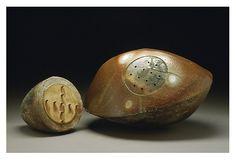 'Stone Storage' 2004 (handbuilt, salt glaze, ceramic) from her 'Fossilized Memories series by Stephanie Craig. #plocomiPottery