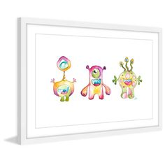 Marmont Hill - 'Alien Friends' by Brilliant Critter Framed Painting Print
