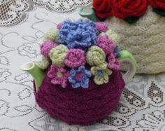 Ganchillo de 2 tazas té acogedor con jardín multifloral (hecho por encargo)
