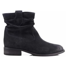 Ivy Charcoal Suede Ankle Boot From Seven Boot Lane ($190) ❤ liked on Polyvore featuring shoes, boots, ankle booties, slouch boots, suede ankle boots, bootie boots, suede booties and short boots