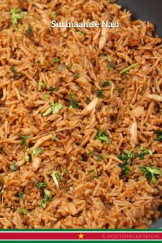 Surinamese Nasi is a fried rice dish from Suriname which was brought over by Indonesians. The fragrant rice dish is a popular dish in Suriname. Healthy Meals For Kids, Healthy Cooking, Cooking Recipes, Nasi Goreng, Rice Dishes, Food Dishes, Dishes Recipes, Healthy Indian Recipes, Ethnic Recipes