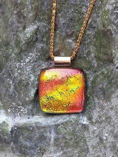 Fused Glass Pendant Autumn's Rainbow  Fused by LolasGlassPendants, $22.00