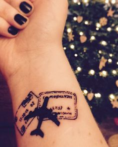 Travel Tattoo - plane silhouette & passports stamps. #black tattoo #first tattoo #wrist tattoo MY FIRST TATTOO - I love it!!!