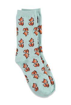 Baby Fox Crew Socks – Womens accessories, jewellery and bags Funky Socks, Crazy Socks, Cute Socks, My Socks, Awesome Socks, Leggings, Tights, Foot Warmers, Happy Socks