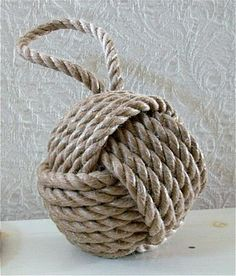 "DIY Idea! Main Ingredient Monday: ""Rope""  Monkey Fist Knot (w/link to youtube video tutorial) from meridianroad.blogspot.com via too-much-time.com"