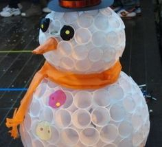 Faire+un+bonhomme+de+neige+avec+des+gobelets+en+plastique