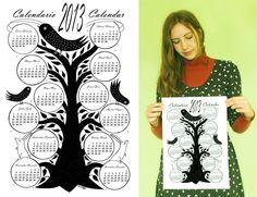 2013 Wall Calendar. €5.00, via Etsy.