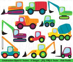 Construction Transportation Clipart Clip Art Vectors, Great for Kids Birthday Party Invitations - Commercial and Personal Use by PinkPueblo on Etsy