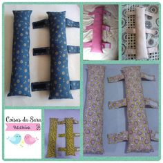 Almofada para cinto de segurança, para adultos e crianças. Sewing Tutorials, Sewing Crafts, Sewing Projects, Sewing Patterns, Seat Belt Pillow, Small Blankets, Diy Buttons, Diy Cleaners, Sewing Studio