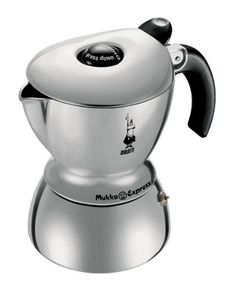 This riff on the aluminum stovetop classic brews about 15 ounces of cappuccino or latte. In the center of the Bialetti's lid, there's a large button that you push down for cappuccino (to make froth) or leave up for latte. The resulting brew is warm and comforting — more milky than strong in flavor. With your Mukka you get a very thorough manual and an instructional DVD. (bialettishop.com)