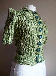 a 1940's jumper hand knitted from an original pattern. By style1940s on flickr.