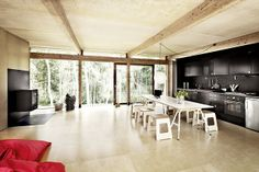 Open plan kitchen - and fireplace