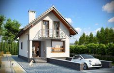 Проект одноэтажного дома с мансардой и гаражом в подвале. R3550 Вид1