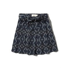 Abercrombie & Fitch Pattern Drapey Skater Skirt ($24) ❤ liked on Polyvore featuring skirts, navy pattern, flared skirt, abercrombie & fitch, tie skirt, navy skirt and skater skirt