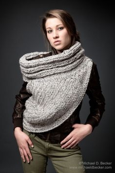 Huntress Cowl Post Apocalyptic Grey Sweater Cowl Scarf Vest by Kysaa. Many colors available. by kysaa, $165.00 USD
