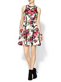 MILLY Paneled Raw-Edge Dress Party Dress