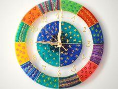 Wall Clock Modern Wall Clock Wall Clock Glass by Madbekatja Wall Clock Numbers, Wall Clock Glass, Kitchen Wall Clocks, Handmade Wall Clocks, Unique Wall Clocks, Clock Art, Clock Painting, Cute Clock, Clock Tattoo Design
