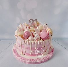 Cakes for Adults - BuBakes pink raspberry and vanilla drip cake with macarons