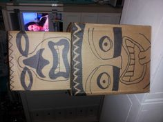 boxes different sizes paint faces for tiki decoration for Luau.. No money needed