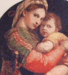 Madonna of the Chair by Raphael. (Detail) Pattern by Scarlet Quince. Stitched on 22 count Aida